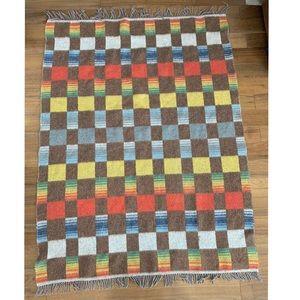 Vintage Wool Plaid Checkered Brown Fringe Blanket